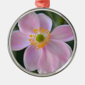 Pink japanese anemone flower metal ornament