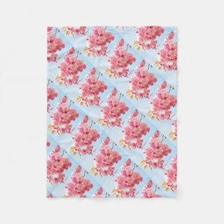 Pink Japanese Cherry Blossom Photograph Fleece Blanket