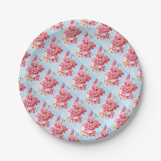 Pink Japanese Cherry Blossom Photograph Paper Plate