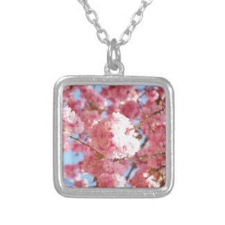 Pink Japanese Cherry Blossom Silver Plated Necklace