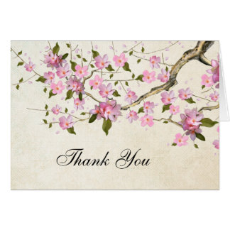 Pink Japanese Cherry Blossom Thank You Note Card