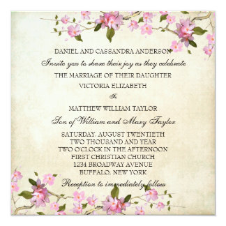 Pink Japanese Cherry Blossoms Wedding 13 Cm X 13 Cm Square Invitation Card