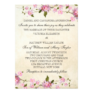 Pink Japanese Cherry Blossoms Wedding Personalized Invitation