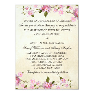"Pink Japanese Cherry Blossoms Wedding 6.5"" X 8.75"" Invitation Card"