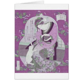 Pink Japanese Woman & Cat / ReMix of Jewel Utagawa Greeting Card