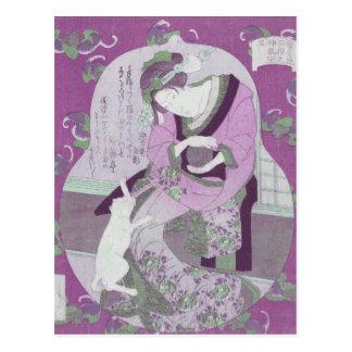 Pink Japanese Woman & Cat / ReMix of Jewel Utagawa Postcard