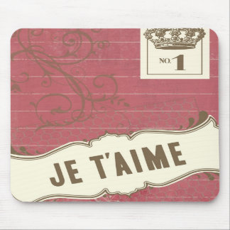 Pink Je t'aime (French I Love You) Mouse Pad