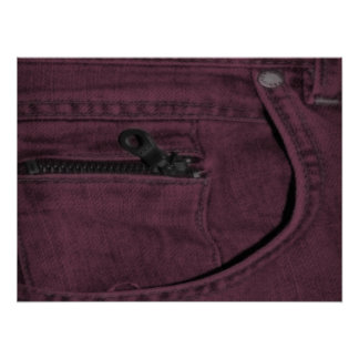 Pink Jean Zipper Pocket Poster