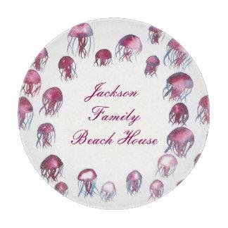Pink Jellyfish Glass Cutting Board