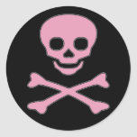Pink Jolly Roger Girl Pirate Stickers