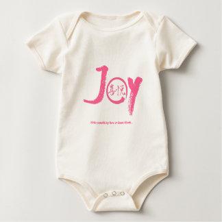 "Pink joy kanji inside enso zen circle ""Joy"" Baby Bodysuit"
