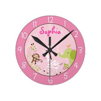 Pink Jungle Animal Round Clock