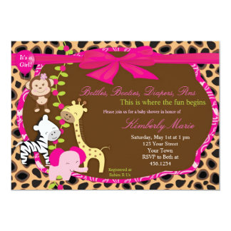 Pink Jungle Baby Shower Invitation