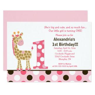 Pink Jungle Giraffe 1st Birthday Invitation 5x7