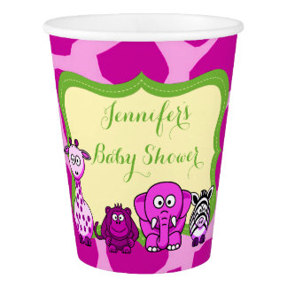 Pink jungle safari animal girl baby shower