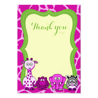 Pink jungle safari animal girl thank you card