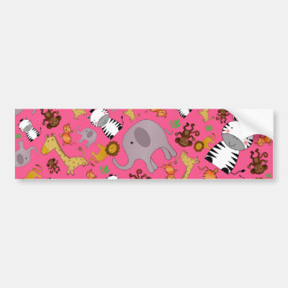 Pink jungle safari animals bumper sticker
