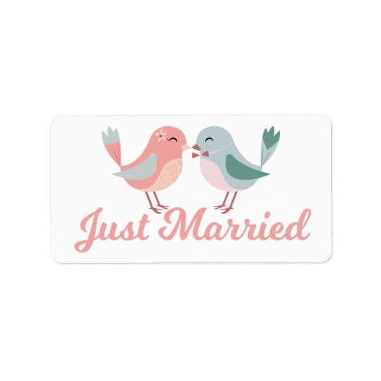 Pink Just Married Lovebirds Wedding Announcement Label