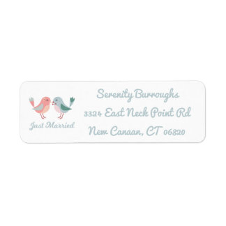 Pink Just Married Lovebirds Wedding Announcement Return Address Label