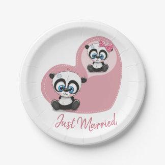 Pink Just Married Panda Teddy Bear Heart Wedding Paper Plate
