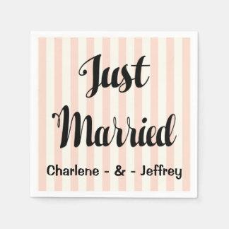 Pink Just Married Wedding Blush White Stripes Disposable Serviette