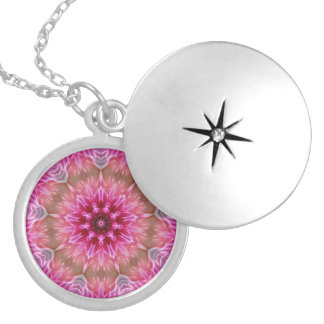 Pink Kaleidoscope Silver Plated Necklace
