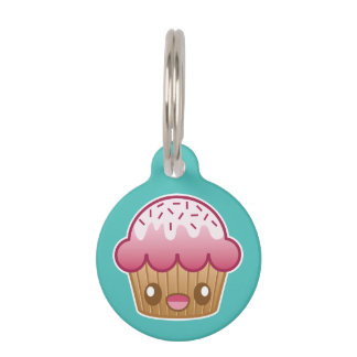 Pink Kawaii Cupcake With Custom Info Pet Name Tag