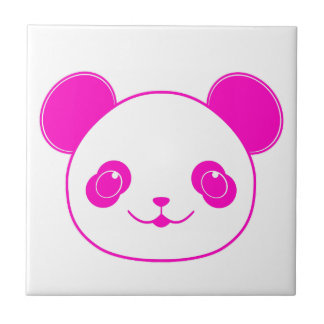 Pink Kawaii Panda Bear Ceramic Tile