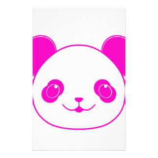 Pink Kawaii Panda Bear Custom Stationery