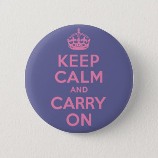 Pink Keep Calm And Carry On 6 Cm Round Badge