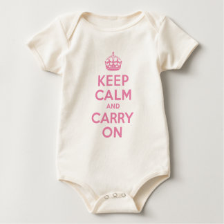 Pink Keep Calm And Carry On Baby Bodysuit