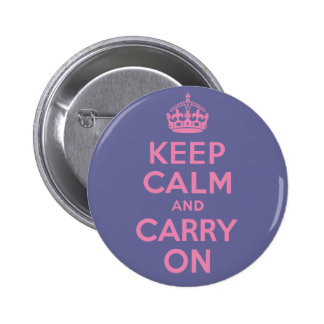 Pink Keep Calm And Carry On Button