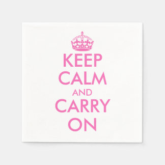 Pink Keep calm and carry on paper napkins