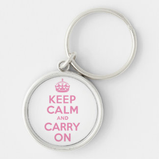 Pink Keep Calm And Carry On Silver-Colored Round Key Ring