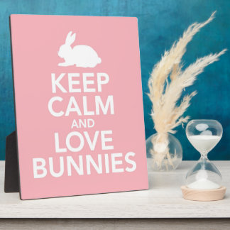 Pink Keep Calm and Love Bunnies plaque / easel