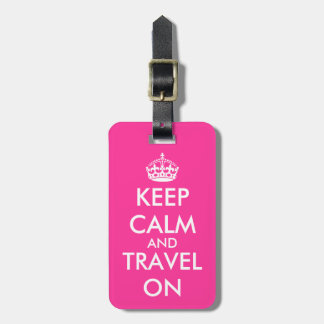 Pink keep calm luggage tag   Personalizable