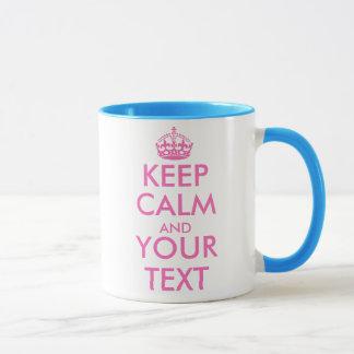 Pink Keep Calm mug template design | Customizable