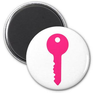 Pink Key 6 Cm Round Magnet