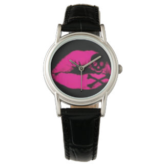 Pink Kiss of Death Classic Black Leather Watch
