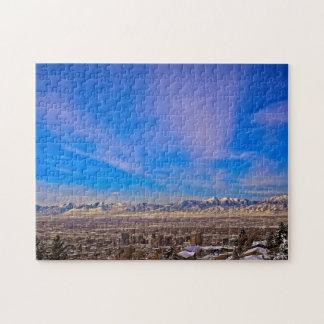 Pink Kissed Sky Over Salt Lake City, Utah Puzzle