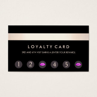 Pink Kissing Lips 6 Punch Customer Loyalty Card
