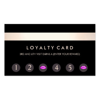 Pink Kissing Lips 6 Punch Customer Loyalty Card Pack Of Standard Business Cards