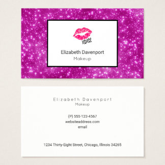 Pink Kissy Lips on Faux Pink Glitter Professional Business Card