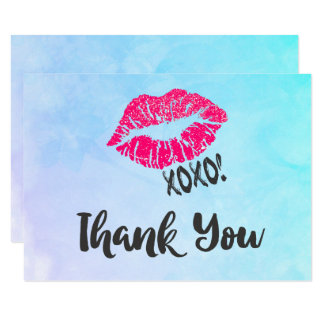 Pink Kissy Lips with xoxo! Thank You Card