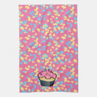 Pink Kitchen Towel with Cupcake & Hearts