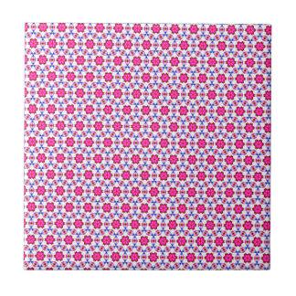 Pink kitsch flower pattern ceramic tile