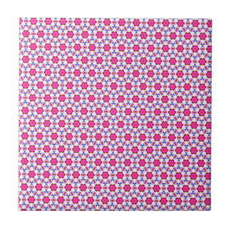Pink kitsch flower pattern small square tile