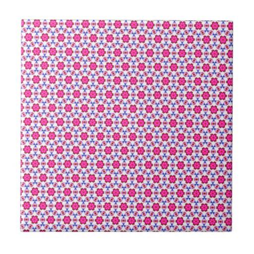 Pink kitsch flower pattern tile