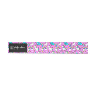 Pink Kitschy glittery funny unicorn and kitty Wraparound Address Label