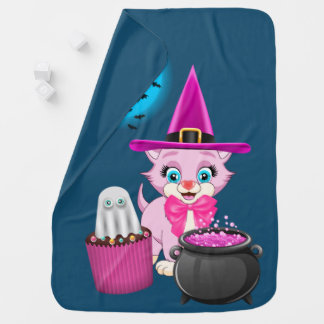 Pink Kitten Halloween Cartoon Baby Blanket